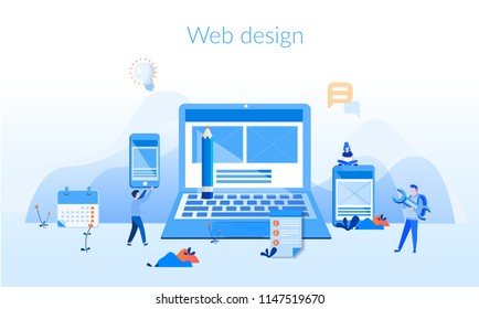 Web design Concept for web page, banner, presentation, social media, documents, cards, posters. Vector illustration, web and mobile phone services and apps