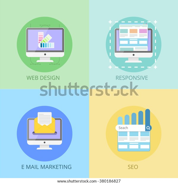 web design concept responsive e mail marketing seo for site graphic process coding programming