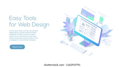 Web design conceptual isometric vector illustration. Website interface creating software concept.
