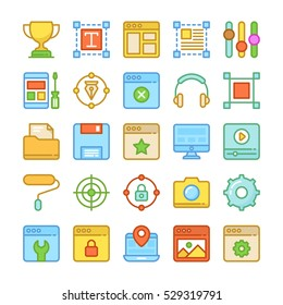 Web Design and Development Colored Vector Icons 6