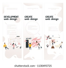 Web design development concept on vertical banners set with it team work on creating layout and filling site page with content and data - cartoon vector illustration of web designers.