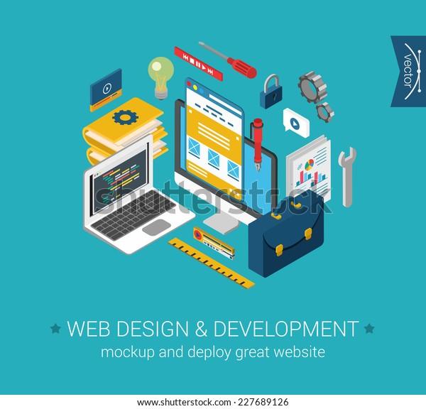 Web design, development, programming, coding, mockup flat 3d isometric modern design concept. Vector objects icon set. Laptop code, desktop interface. Web illustration and website infographics element