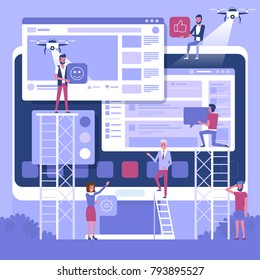 Web design and development. Site under construction. A team of young professionals working on a landing page. Flat vector illustration, clip art. Millennials at work. Digital creative industry.