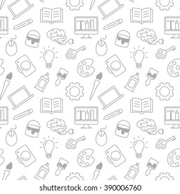 Web design, education, art or school simple texture. Flat thin line seamless pattern, vector background for website banner of header. Brush, diamond, bulb original unusual pattern