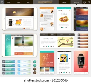 Web Design elements, buttons, icons. Templates for website or applications.