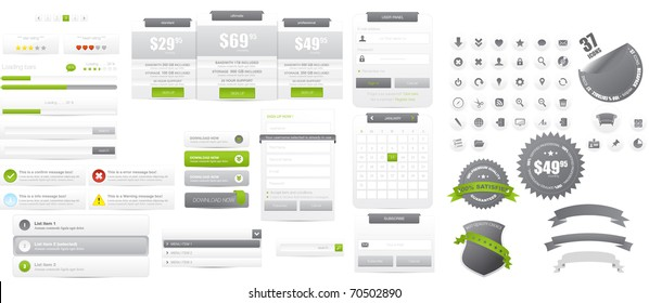Web design elements collection with mega icons set