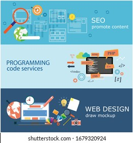 Web design elements concept design with horizontal banners