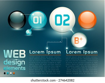Web design elements, numbered choices and banners, sample text, named and structured layers, EPS 10, transparensy