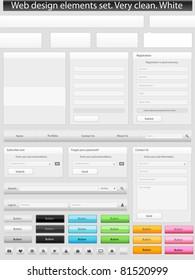 Web design elements set. Clean. White
