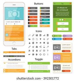 Web design elements for website or app. Collection of icons, buttons with tabs and toggles for website. Design for application.