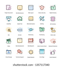 Web design flat icons pack consisting vast variety of visuals regarding different fields. Editable icons use as per your project needs and feel free to grab this set.