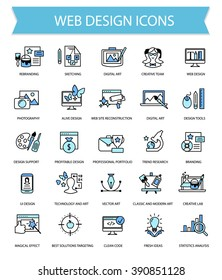 Web design flat thin line modern vector icon set, graphic art creative lined icons collection for web site decoration and UI design, material design