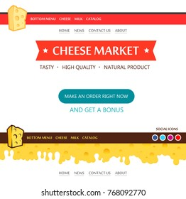 Web Design layout for Cheese Market in red color sheme. Pleasant appearance with convenient navigation elements. Bottom Footar part with cheese pattern is seamless.