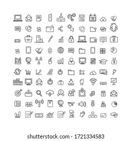 Web design linear business icons