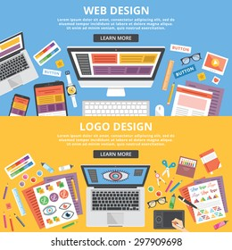 Web design, logo design flat illustration concepts set. Top view. Modern flat design concepts for web banners, web sites, printed materials, infographics. Creative vector illustration