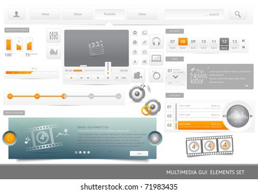 Web Design multimedia GUI elements set.