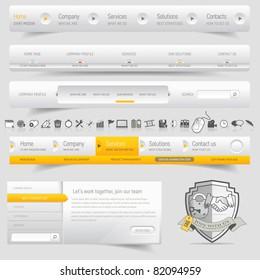 Web design navigation set with icons set