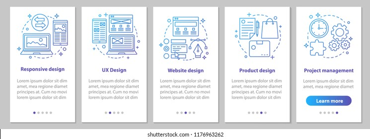 Web design onboarding mobile app page screen with linear concepts. Website, UX, responsive design, branding, project management steps graphic instruction. UX, UI, GUI vector template with illustration