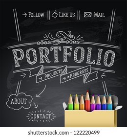 Web design portfolio template, vector illustration.