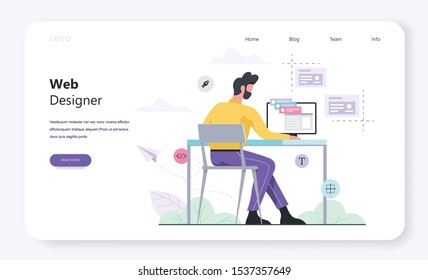 Web design and programming horizontal banner template for web page. Responsive design for website. Man sitting at the table. Isolated flat illustration