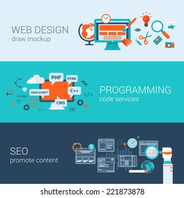 Web design programming SEO concept flat web banners template set vector illustration website infographics elements. Process webdesign mockup program code php html javascript cms search optimization.