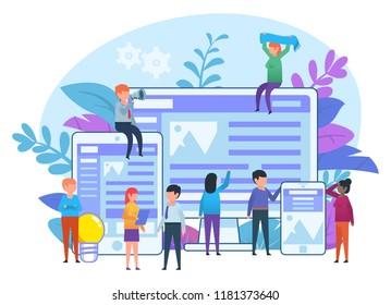 Web design studio, website creation process. Cross-platform website. Small people working near big screen, phone and tablet. Poster for presentation, web page, banner. Flat design vector illustration