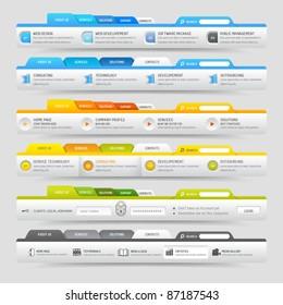Web design template elements with icons set: Navigation  menu bars