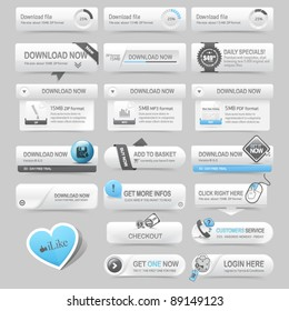 Web design template navigation elements: Navigation buttons with ornaments