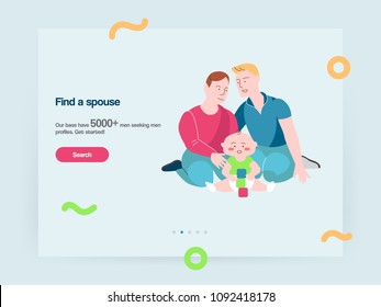 Web design template vector with gay family dating and relationships