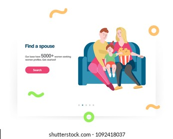 Web design template vector with lesbian family dating and relationships