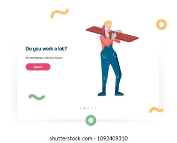 Web design template vector with woman working a builder