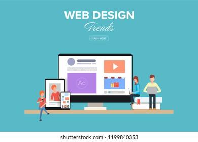 Web design trend. Flat work space for creative design.