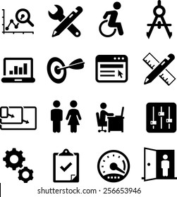 Web design, usability, UI and UX icon set