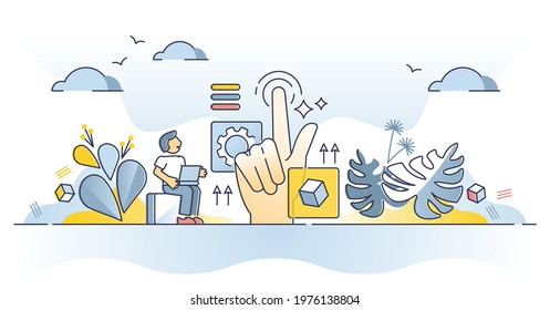 Web design usability as website practical and responsive work outline concept. Coding and programming user friendly and easy to use homepage with testing and page content layout vector illustration.