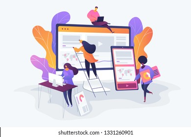 Web design, User Interface UI and User Experience UX content organization. Web design development concept. Vector isolated concept illustration. 3D liquid design with floral elements.