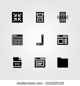 Web Design vector icon set. decrease, browser, svg and responsive