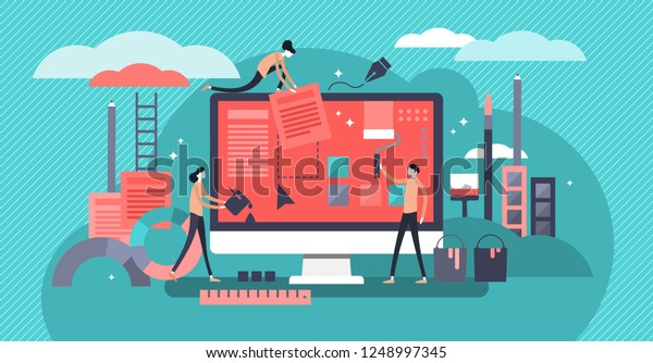 Web design vector illustration. Mini persons concept with creative design home page, blog or site. Equipment tools for digital interface. Teamwork and coworker job for computer app development company