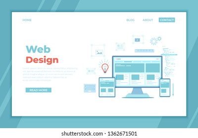 Web Design. Website template for monitor, laptop, tablet, phone. Elements for mobile and web applications. User Interface UI and User Experience UX content organization. landing page, banner. Vector