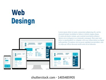 Web Design. Website template for monitor, laptop, tablet, phone. Elements for mobile and web applications. User Interface UI and User Experience UX content organization. landing page, banner.