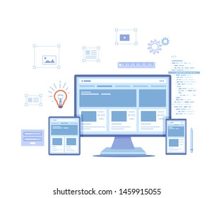 Web Design. Website template for monitor, laptop, tablet, phone. Elements for mobile and web applications. User Interface UI and User Experience UX content organization. Vector illustration on white