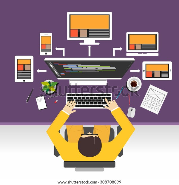 Web Designer Concept Illustration Flat Design Stock Vector