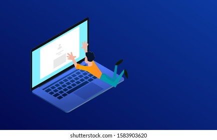 Web designer hanging over laptop and reaching for screen
