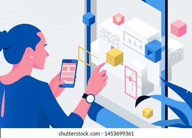 Web designer planning new website for mobile phone. Usability concept
