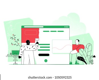 Web designer planning visual design for web project