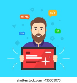 Web designer. Programmer.  Site developer. ?lient flat vector illustration