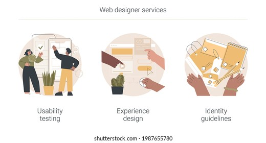 Web designer services abstract concept vector illustration set. Usability testing, experience design, identity guidelines, user experience test, UX and UI element, corporate ID abstract metaphor.