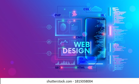 Web develop for mobile phone vector concept. Create Software and app for cell smartphones. Programming or coding site code. Working on a web design of corporate website. Process creates webpages.