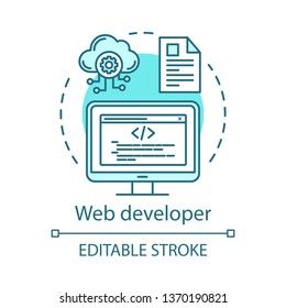 Web developer concept icon. Website programmer idea thin line illustration. IT specialist. Software development. Web engineering. Front-end, back-end. Vector isolated outline drawing. Editable stroke