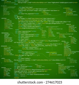 Web developer HTML code with CSS on screen. Abstract web script code. Green vector background