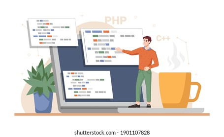 Web developer working on project, presentation ready site. Programming and coding using laptops and computers. Technology improvement and innovations. Cartoon character, vector in flat style